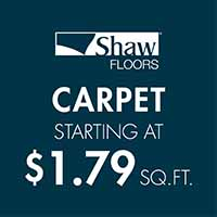 Shaw Floors carpet starting at $1.79 sq ft